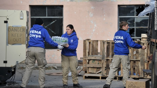 FEMA Corps volunteers in Far Rockaway, Queens, after Hurricane Sandy passed through New York City in 2012.