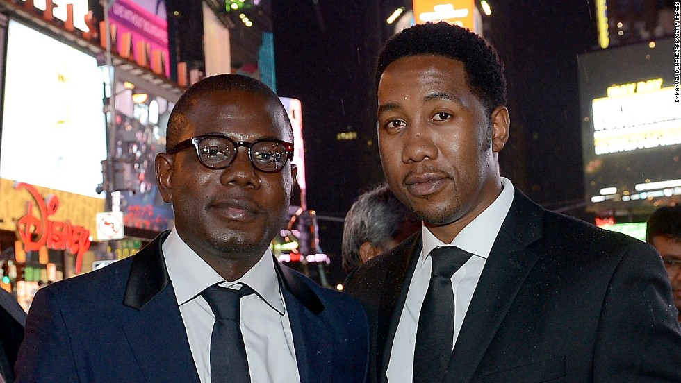 "Makgatho Mandela's son, Ndaba Mandela, right, with cousin Kweku Mandela at Times Square for an April 19 showing of ""Power of Words: Nelson Mandela,"" a short film about their grandfather's writings that was part of the Tribeca Film Festival in New York."