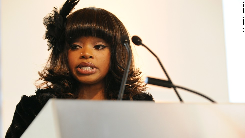 Nelson Mandela's granddaughter Zoleka Mandela speaks during the launch of the Zenani Mandela Scholarship for road safety, dedicated to her daughter Zenani Mandela, who was killed in 2010 at age 13 in a road accident.
