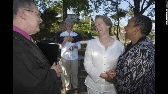 Phillips and Green are all smiles as they celebrate their wedding in 2010 in Provincetown, Massachusetts.