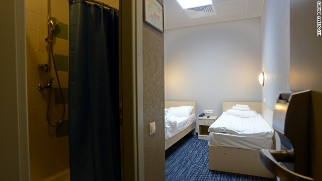 A general view one of the rooms in the Capsule Hotel 'Air Express' inside Moscow's Sheremetyevo terminal F in Moscow on June 26, 2013, where US intelligence leaker Edward Snowden reportedly spent the fourth day with his onward travel.
