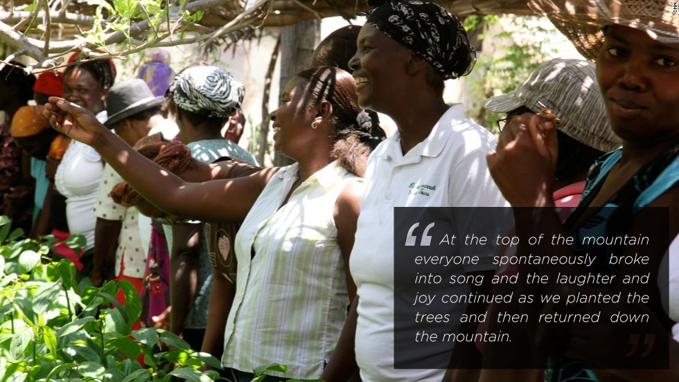 Over the last few years the Alliance has trained the farmers to start replanting trees on the sides of mountains to combat erosion. After planting, the celebration begins with joyful singing.