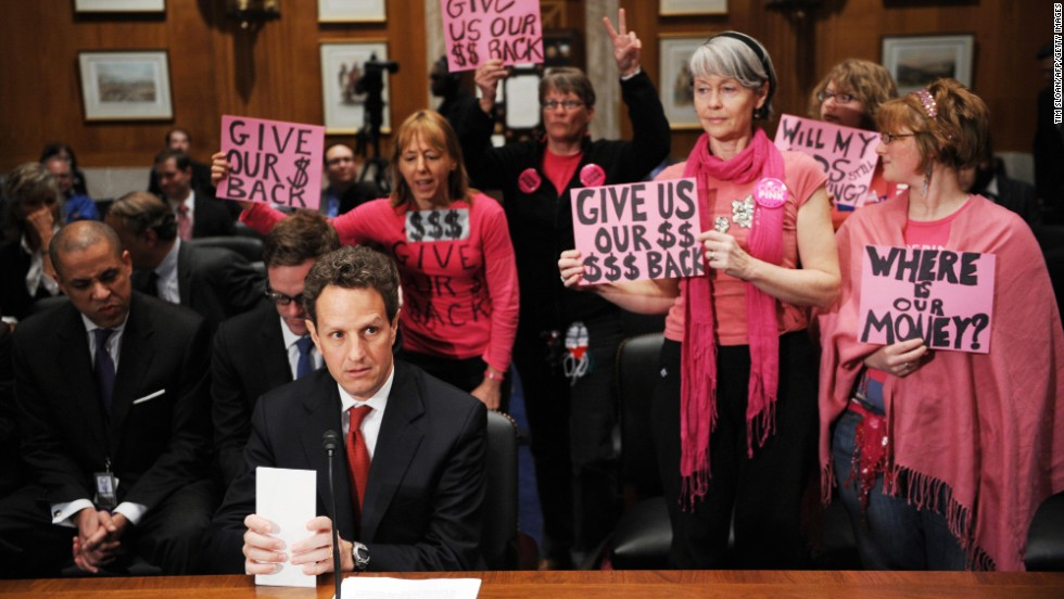 "Also claiming the color pink, members of<a href=""http://www.cnn.com/2013/05/23/politics/gallery/medea-benjamin/index.html""> Code Pink </a>often stand out in Washington. The group, a women-initiated peace activism organization, is seen here as Treasury Secretary Timothy Geithner prepares to testify at a congressional hearing on April 21, 2009."
