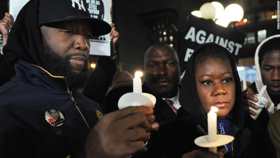 "Trayvon Martin's parents, Tracy Martin, left, and Sybrina Fulton, attend a vigil in New York on February 26, 2013, marking the one-year anniversary of their son's death. George Zimmerman is on trial for killing the 17-year-old in Sanford, Florida. Since Trayvon's death, <a href=""http://www.cnn.com/2012/03/27/living/history-hoodie-trayvon-martin/index.html"">protesters have worn hoodies</a> in solidarity against racial profiling."