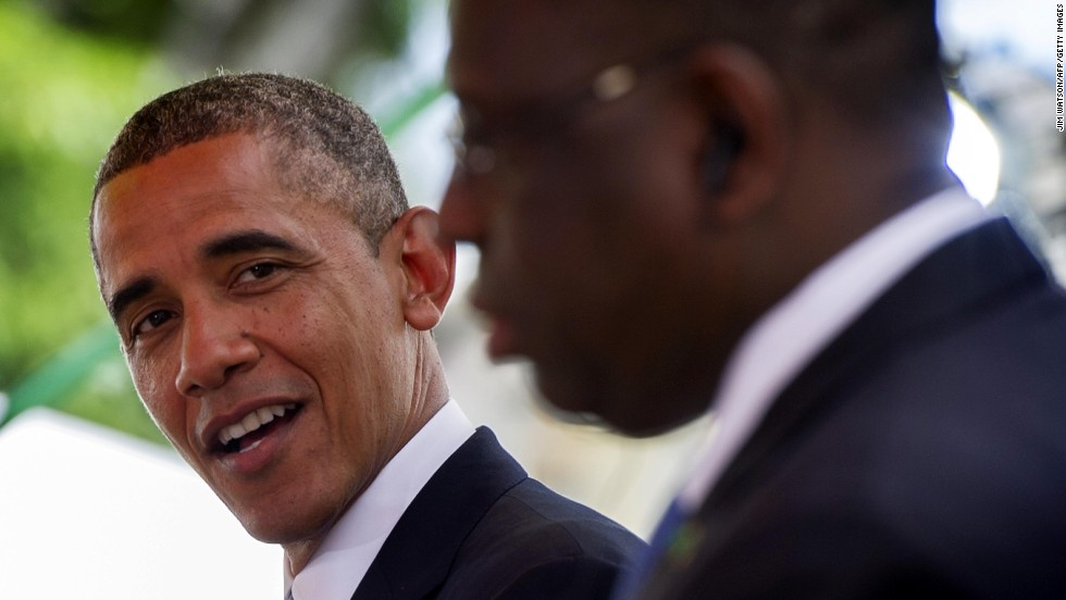 Obama talks with Sall during a bilateral press conference on June 27.