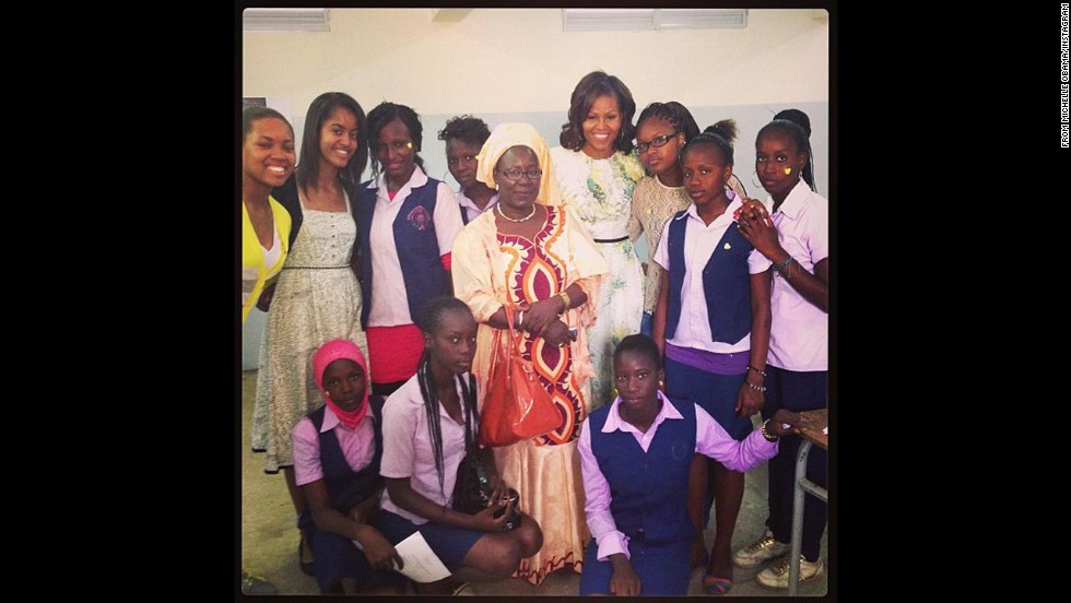 "First lady Michelle Obama has been updating her <a href=""http://instagram.com/michelleobama#"" target=""_blank"">brand new Instagram account</a> from Africa. Her first post came from Senegal on Thursday, June 27, saying: ""My first instagram! So inspired and so impressed by these extraordinary young women. -mo #FLOTUSinAfrica"""
