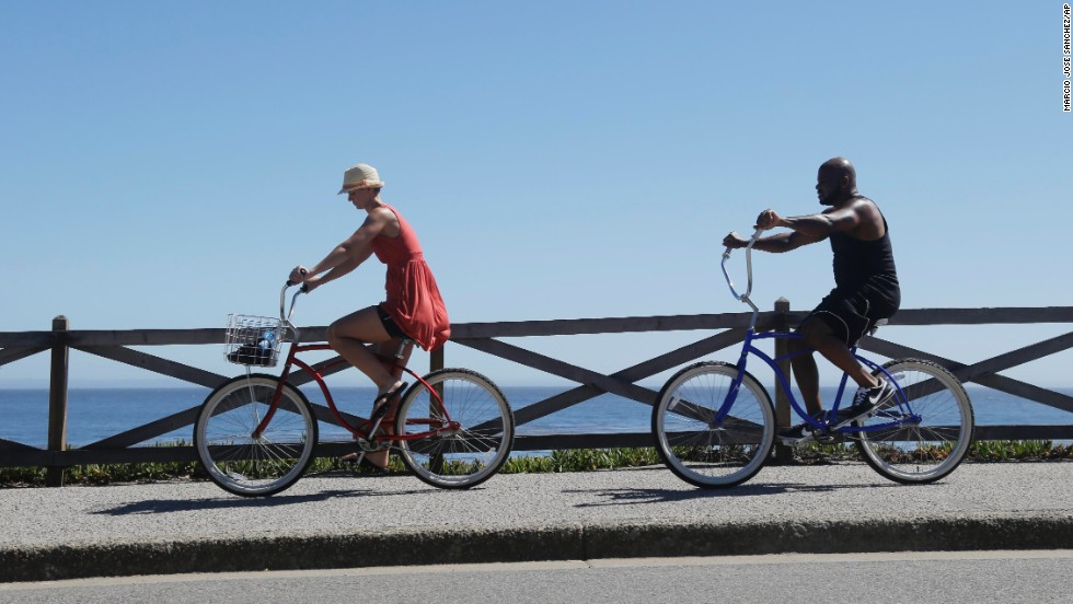 A couple bikes along the oceanfront in Santa Cruz on June 27.
