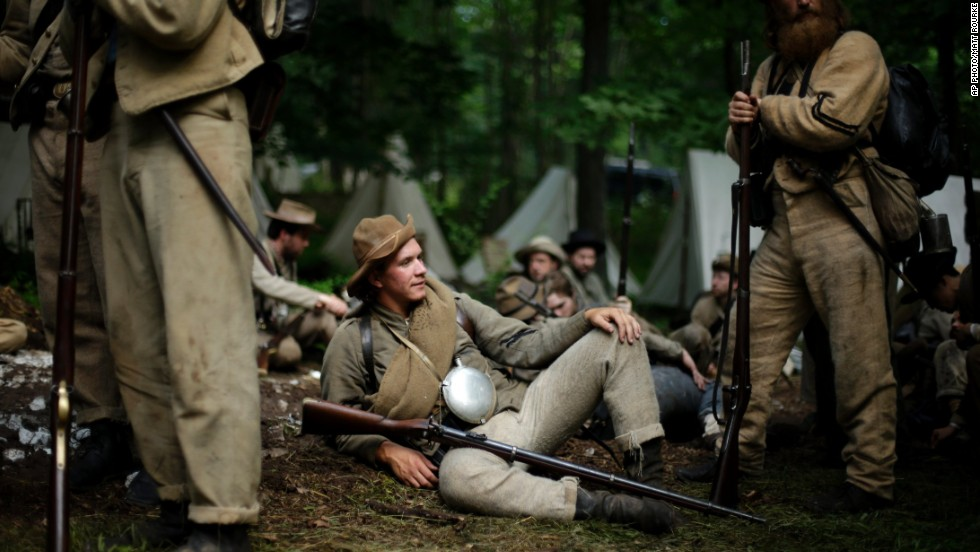 Members of the 1st Tennessee wait to take part in an engagement at Bushey Farm in Gettysburg.