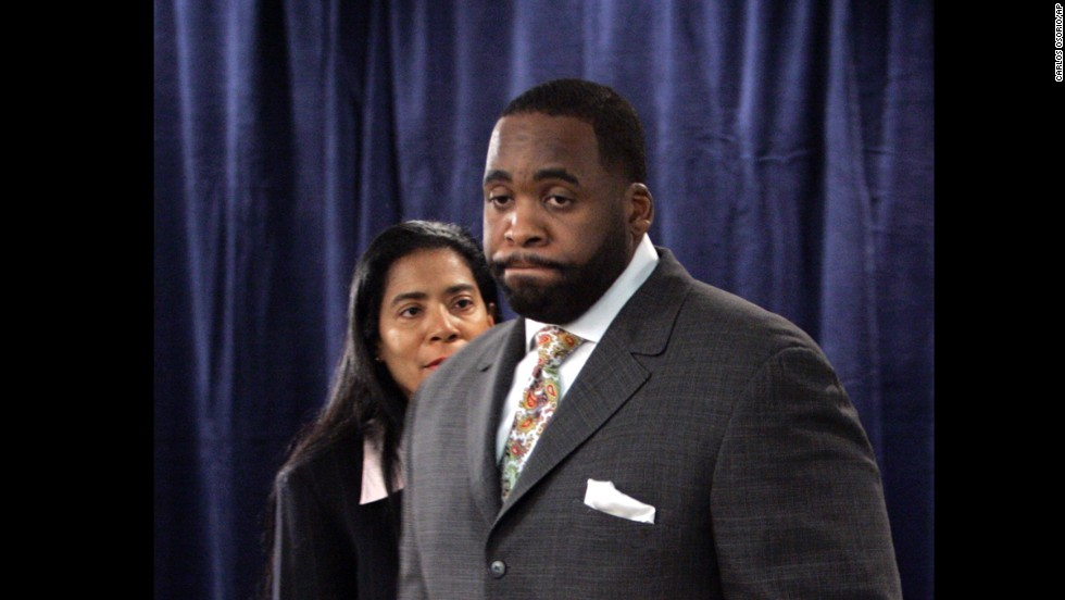 "Here, Smith is seen with Detroit Mayor <a href=""http://www.cnn.com/2013/03/11/justice/michigan-kilpatrick-verdict"" target=""_blank"">Kwame Kilpatrick</a> in 2008.  She was his spokeswoman when he was charged with perjury and other counts after sexually explicit text messages surfaced, appearing to contradict his sworn denials of an affair with a top aide. Kilpatrick resigned as mayor in 2008 and was convicted of several federal charges, including racketeering conspiracy, extortion and the filing of false tax returns."