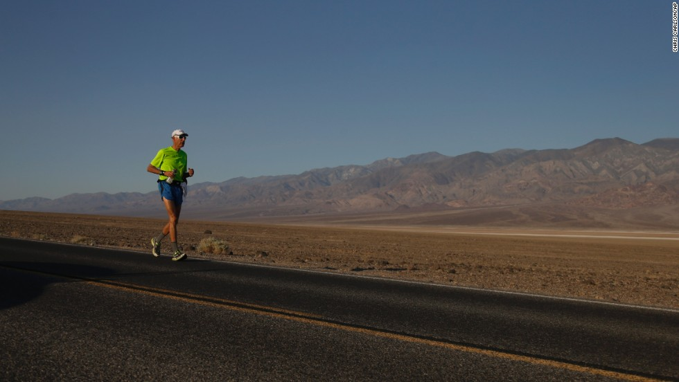 Steve Howard does a 30-mile training run in Death Valley National Park in California on June 28.