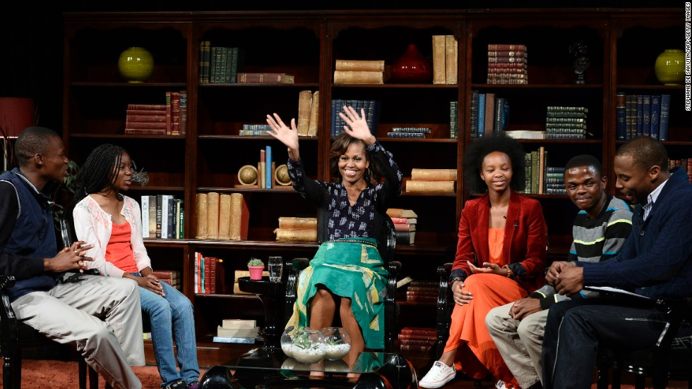 Michelle Obama participates in a discussion with students on the importance of education June 29 at the Sci-Bono Discovery Centre in Johannesburg.