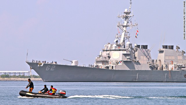 US destroyer USS Fitzgerald arrives at the former US naval base in Subic Bay, Philippines last month to join exercises close to the Scarborough Shoal, a disputed area of the South China Sea.