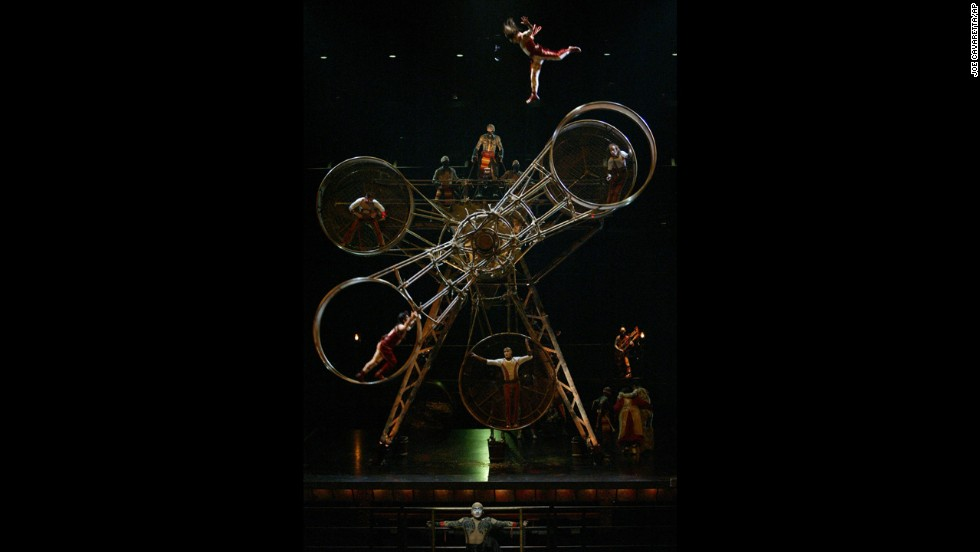 The Alegria brothers from Mexico perform the wheel of death during the show in February 2005.