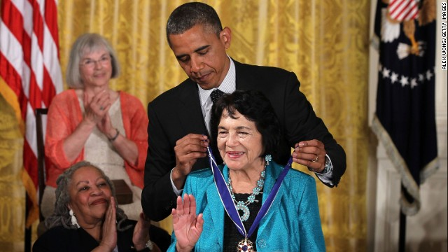 President Obama presents Huerta with a Presidential Medal of Freedom in the East Room of the White House on May 29, 2012.