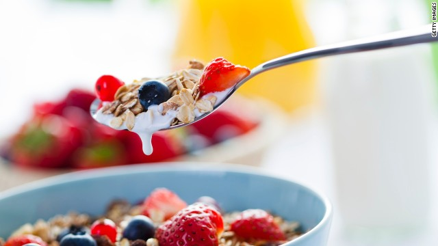 A regular  breakfast of 100% whole grain cereal with fruit and low-fat milk is great. for maintaining mood balance.