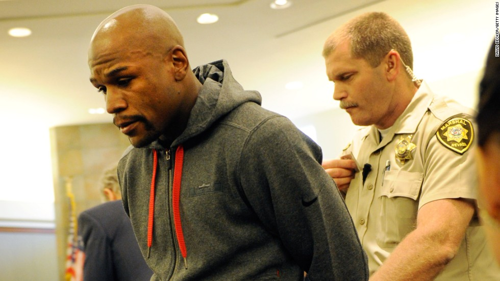Just as his father before him, Floyd Mayweather is led away in handcuffs -- after receiving a brief jail term for domestic violence. In the 1990s, Floyd Sr. was sentenced to five-and-a-half years in jail for drug trafficking.
