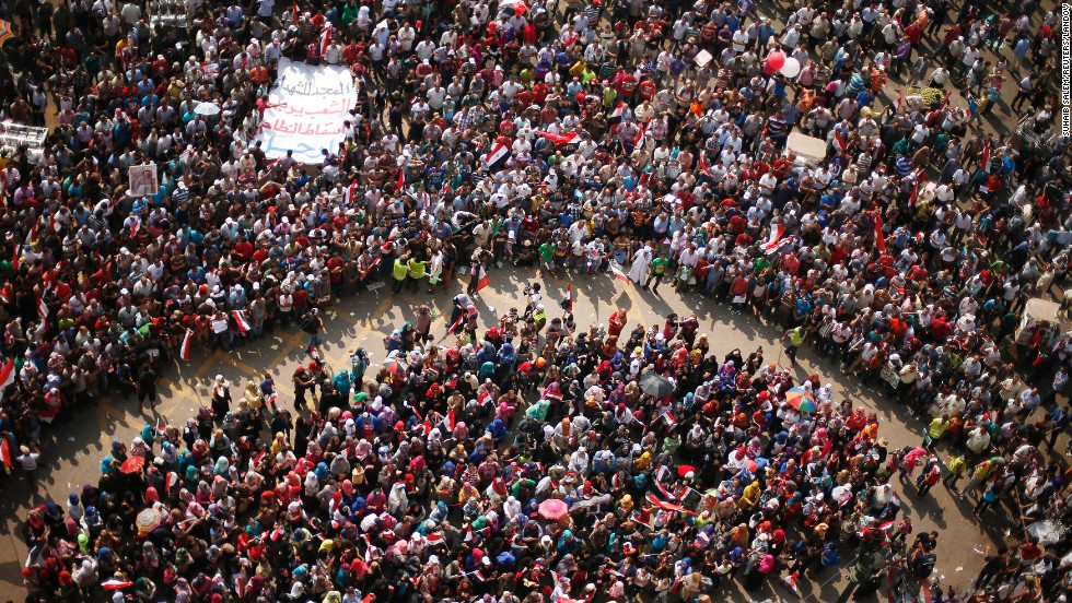 Protesters at Tahrir Square in Cairo on July 1 demand that Morsy resign. The U.S. Embassy in Cairo, which has been closed since June 30, will remain closed on Wednesday.