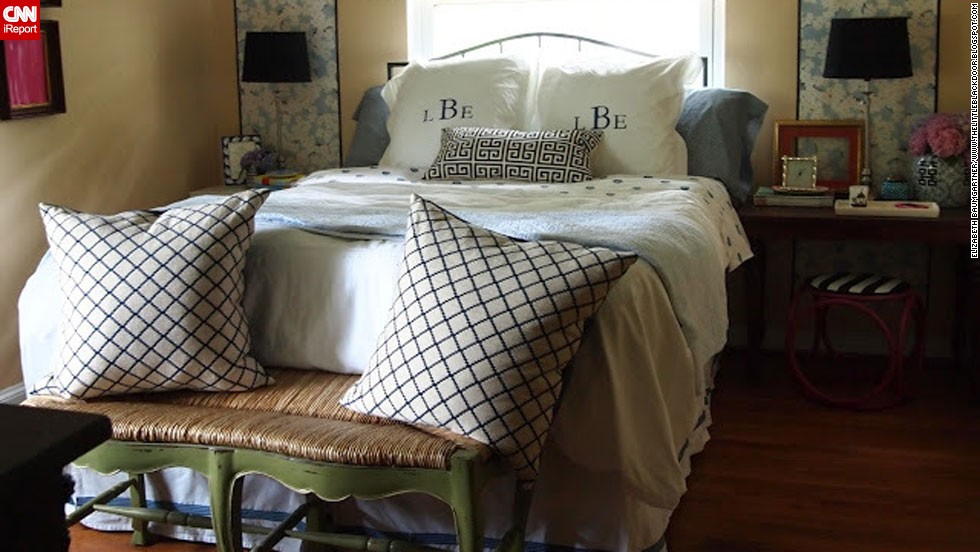 "<a href=""http://ireport.cnn.com/docs/DOC-996853"">Elizabeth Baumgartner</a> of St. Louis said her bedroom sat neglected while she worked on decorating the rest of her house. Through smart purchases and repurposed items from the rest of her home, she transformed her bedroom and documented the process <a href=""http://thelittleblackdoor.blogspot.com/2012/05/now-i-can-lay-down-bedroom-reveal.html"" target=""_blank"">on her blog</a>."
