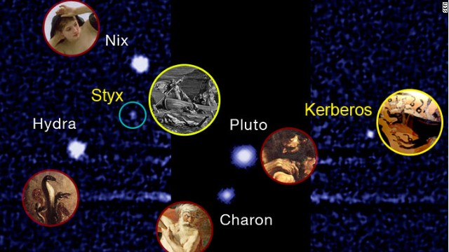 "Pluto's two newly discovered, and smallest, moons will be named Styx and Kerberos, despite ""Vulcan"" winning in an online poll."