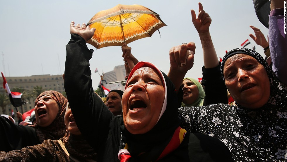 Hundreds of protesters gather in Tahrir Square in Cairo as the deadline given to Morsy by the military approaches on July 3.