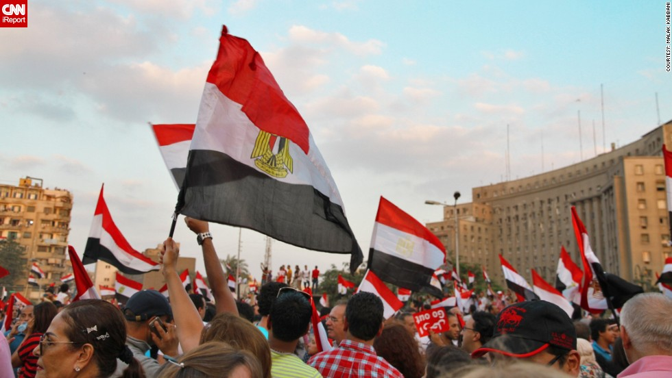 "iReporter <a href=""http://ireport.cnn.com/people/mgkab"">Malak Kabbani</a> sent in images from protests held July 2. She told CNN: ""The energy in Tahrir is very positive, the protests have been very peaceful all over Cairo and surrounding Egyptian states so far."""