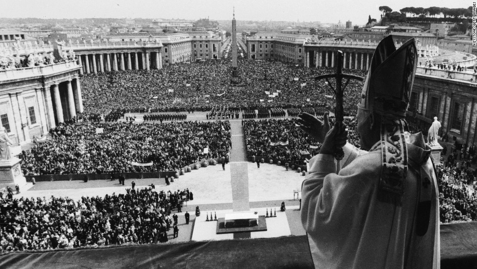 Pope John Paul II blesses the crowd in St. Peter's Square in Vatican City on Easter Sunday in April 1980.