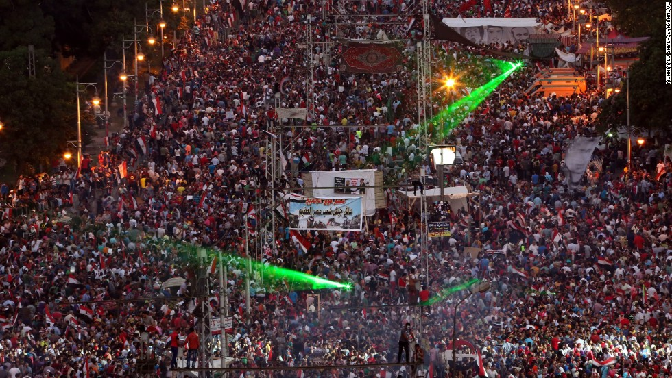 Morsy opponents gather in the streets of Cairo on July 3.