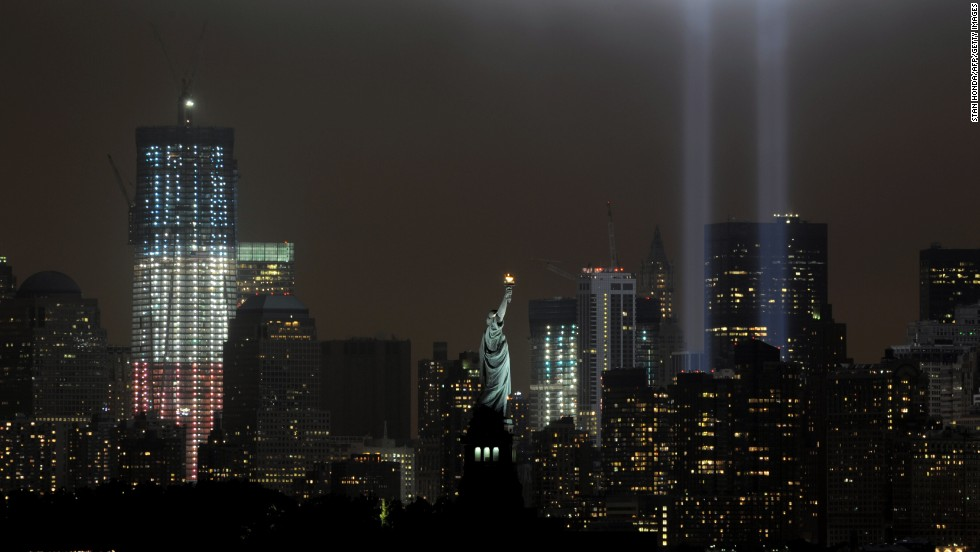A memorial that echoes the shape of the World Trade Center towers is illuminated on the 10th anniversary of the September 11 attacks.