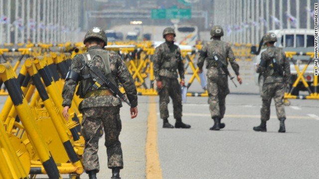 South Korean troops work a checkpoint on the road leading to North Korea's Kaesong complex in this file photo.