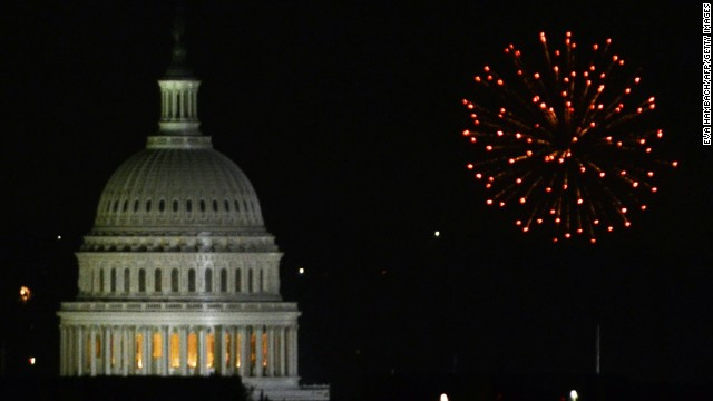 Fireworks go off behind the US Capitol building on 04 July, 2011 as the United States celebrate Independence Day, a US federal holiday. Independence Day commemorates the day the Declaration of Independence was adopted by the continental congress in 1776, marking independence from Great Britain and the beginning of democracy.