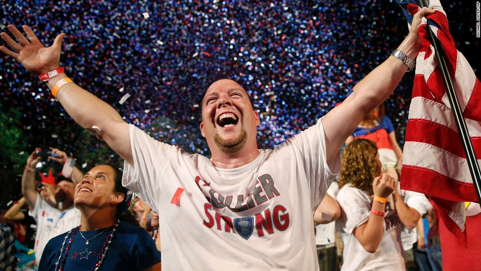 Scott Webb celebrates during the finale of the Boston Pops Fourth of July Concert at the Hatch Shell in Boston.