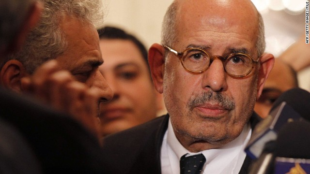 Mohamed ElBaradei leaves a press conference on November 22 in Cairo.