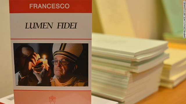 "An edition of Pope Francis' first encyclical, titled ""Lumen Fidei."""