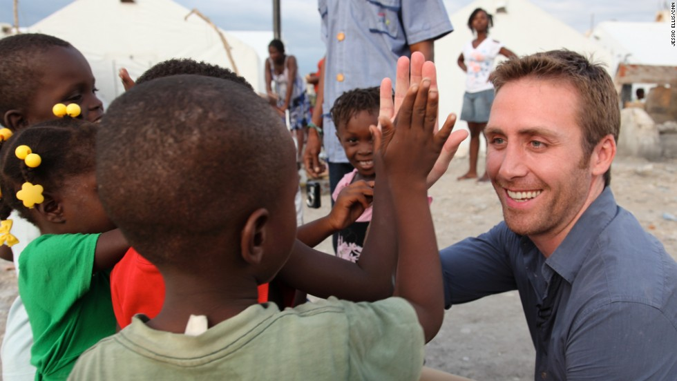 CNN Special Correspondent Philippe Cousteau plays with the local children.