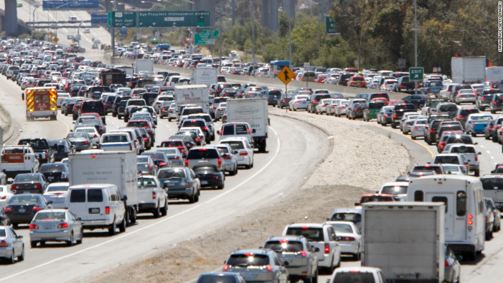 Traffic backs up on U.S. Route 101 South in San Francisco on July 6. The Bay Area airport was closed to incoming and departing traffic after the crash, according to the Federal Aviation Administration.