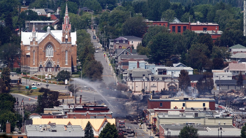 A view of the town from a lookout point at Lac Megantic, Quebec, July 7.