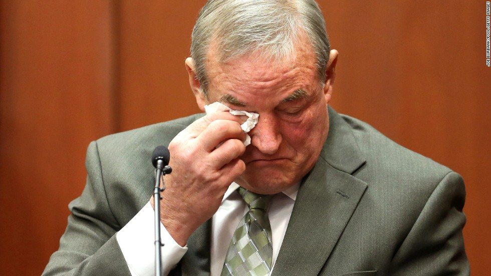 John Donnelly, a friend of George Zimmerman's, cries on the witness stand on Monday, July 8, in Sanford, Florida, after listening to screams on the 911 tape entered in evidence.