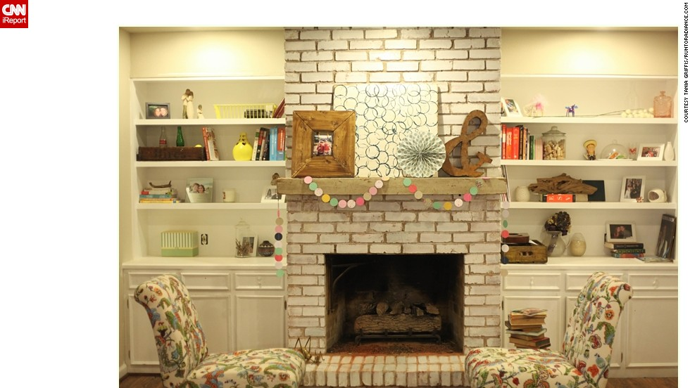 "<a href=""http://ireport.cnn.com/docs/DOC-1000672"">Tania Griffis</a> of Dallas used plenty of elbow grease and faced DIY failure while renovating her living room. Now, her mantel is just how she likes it."