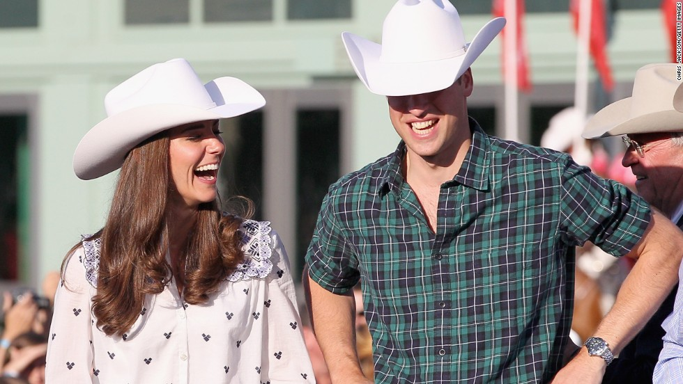 The newly married royal couple watches a rodeo demonstration at a government reception in Calgary, Alberta, in July 2011.
