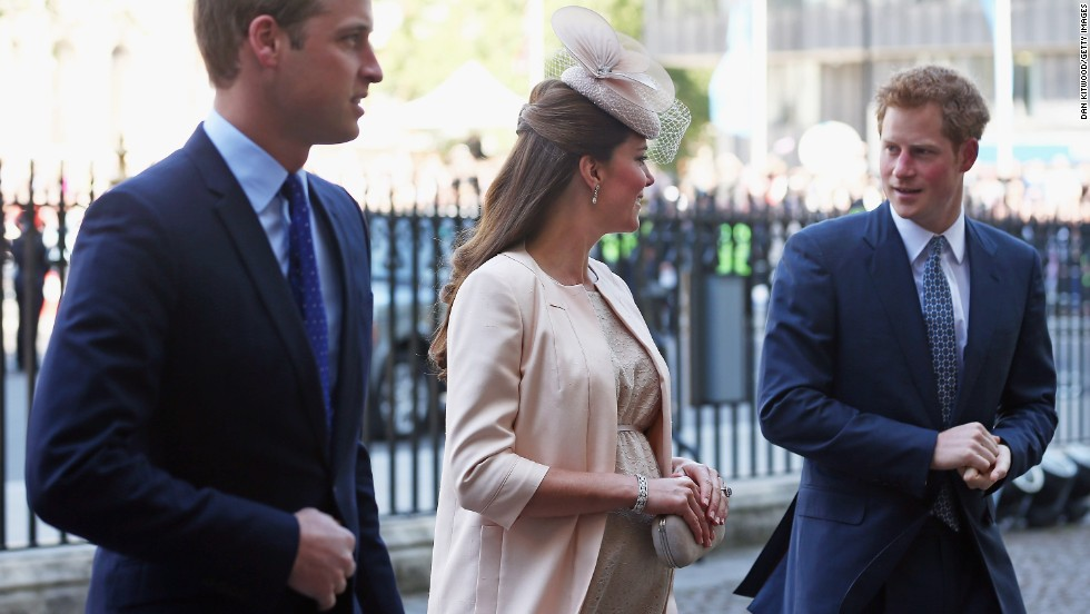 In June 2013, William, Catherine and Prince Harry arrive at Westminster Abbey for a celebration marking the 60th anniversary of Queen Elizabeth II's coronation.