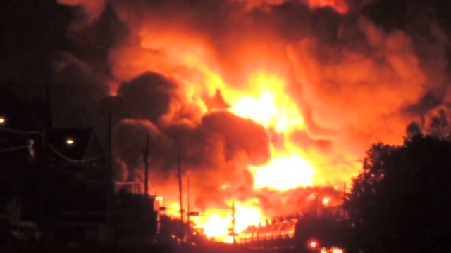 2013: Crude oil train derails in Canada, decimates town