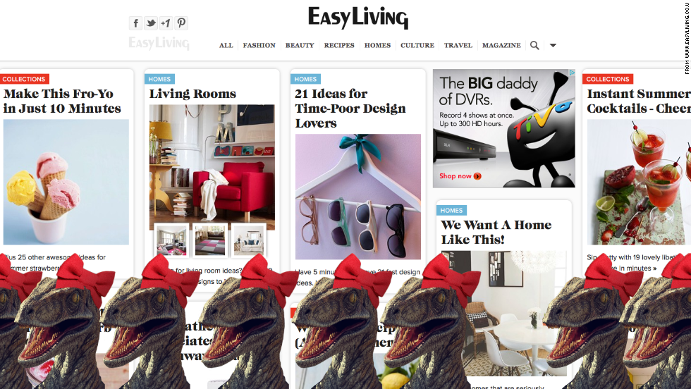 "Red bows adorn dinosaurs on <a href=""http://www.easyliving.co.uk/"" target=""_blank"">Easy Living</a>."