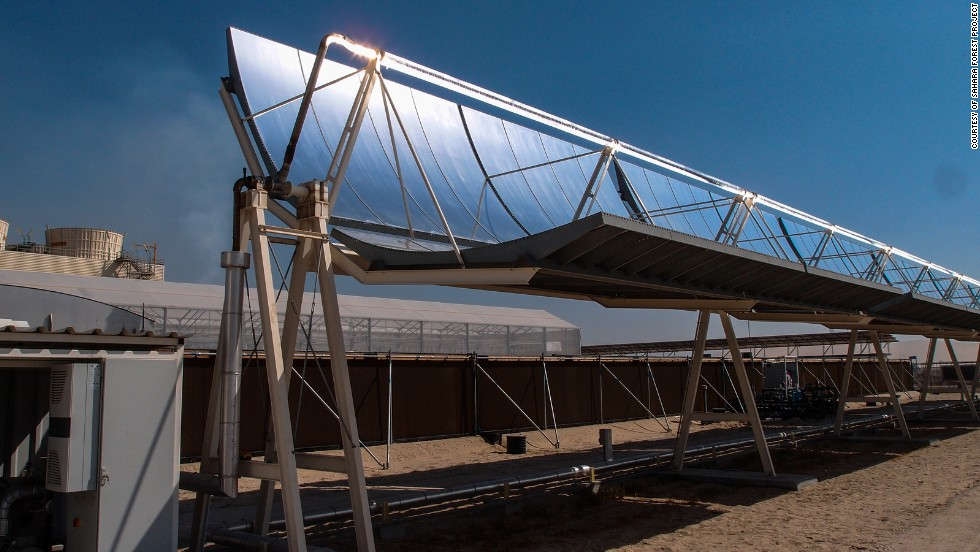 The facility uses concentrated solar power plant, which is a system that focuses sunlight onto a small area with mirrors.
