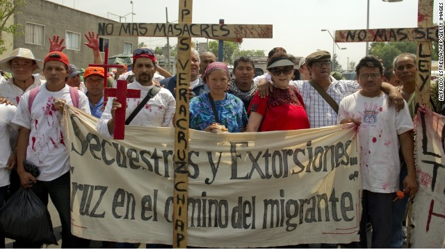 Immigrants to Mexico from El Salvador, Guatemala and Honduras protest Mexico's immigration law on April 26, 2011.