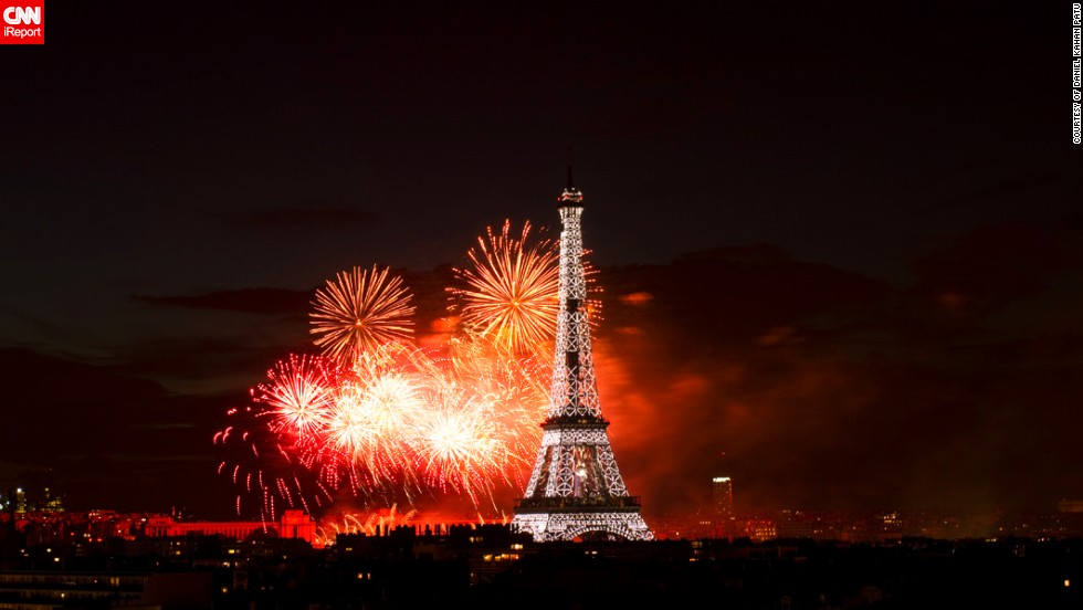 Daniel Kahan Patu snapped this photo of the Bastille Day fireworks from his in-laws' home in Paris. The 30-year-old art director says he could smell the smoke from the fireworks that were two kilometers away, just by standing near the apartment window.