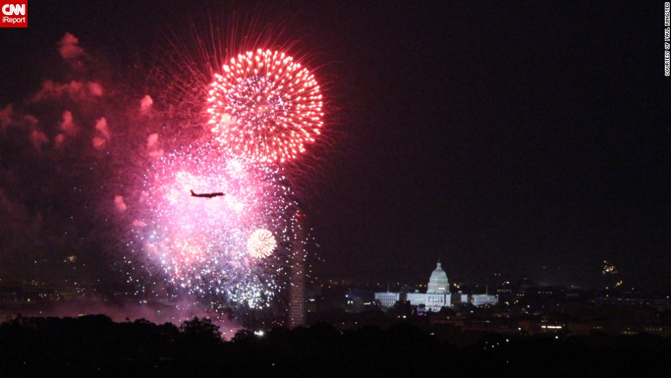 "Paul Ringsted was quite surprised when he saw that he had managed to capture the moment a plane flew just in front of the fireworks display in <a href=""http://ireport.cnn.com/docs/DOC-1000342"" target=""_blank"">Washington DC</a>. <br /><br />""I was amazed that I had captured the plane just at the right moment - we had been talking on the roof about the planes coming across the fireworks and how close they must have been, I had no idea I had this shot until I looked through the photos afterwards, "" says Mr Ringsted who is originally from the UK but has lived in the U.S. for 16 years. To him the most special thing about Fourth of July is seeing America come together to celebrate its history."