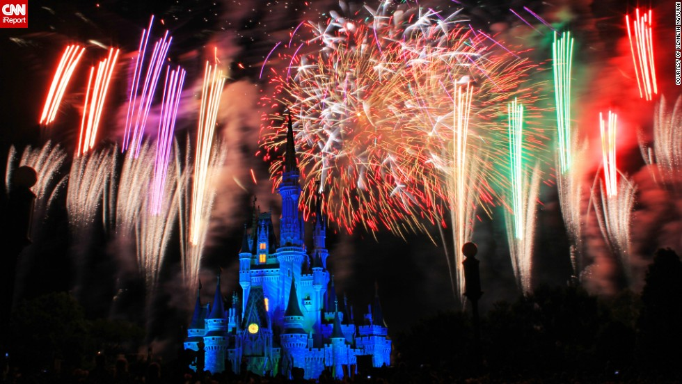 "This photo was taken on May 12, 2013 at <a href=""http://ireport.cnn.com/docs/DOC-997473"">Disney World's Magic Kingdom</a> at the daily fireworks show called the Wishes Nighttime Spectacular. ""The fireworks were well synchronized with the music being played in the background and was arranged in a manner that all visitors will get a good view with the castle as the backdrop,"" says Kenneth Ngyuwai from Daytona Beach, Florida who captured the castle in all its glory."