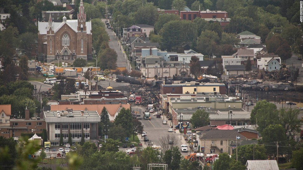 The derailment in downtown Lac-Megantic wiped out 40 buildings and killed dozens of people. Many more people are still missing and believed to have been vaporized in the inferno.