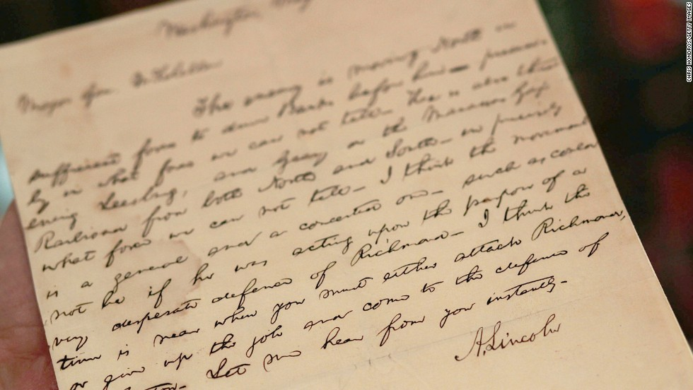 "A handwritten telegram from Abraham Lincoln to General McClellan during the American Civil War is seen at Sotheby's auction house on April 8, 2010 in New York. Lincoln tells McClellan in the telegram that ""...you must either attack Richmond, or give up the job and come to the defense of Washington."""