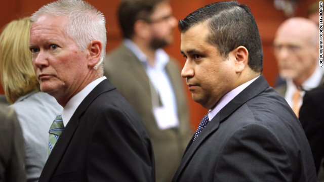 SANFORD, FL - JULY 13:  George Zimmerman (R) is escorted from the courtroom a free man after being found not guilty, on the 25th day of his trial at the Seminole County Criminal Justice Center July 13, 2013 in Sanford, Florida. Zimmerman was charged with second-degree murder in the 2012 shooting death of Trayvon Martin.  (Photo by Joe Burbank-Pool/Getty Images)